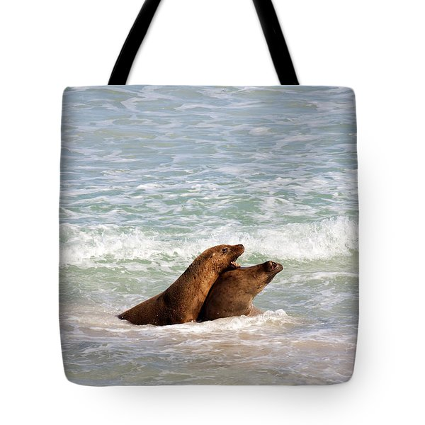 Battle for the Beach Tote Bag by Mike  Dawson