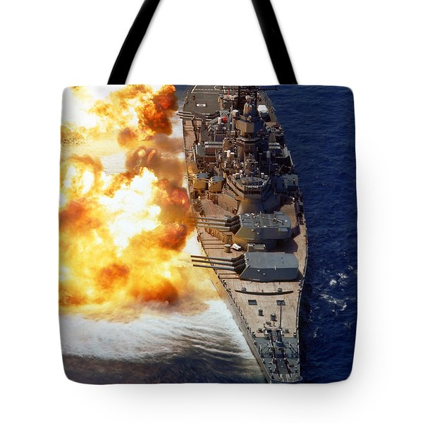 Battleship Uss Iowa Firing Its Mark 7 Tote Bag by Stocktrek Images
