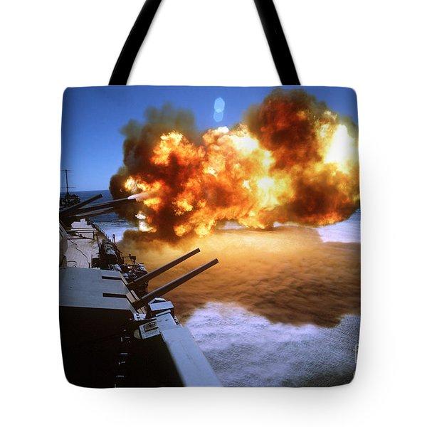 Battleship Uss Missouri Fires One Tote Bag by Stocktrek Images