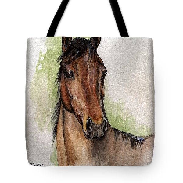 Bay Horse Portrait Watercolor Painting 02 2013 Tote Bag by Angel  Tarantella
