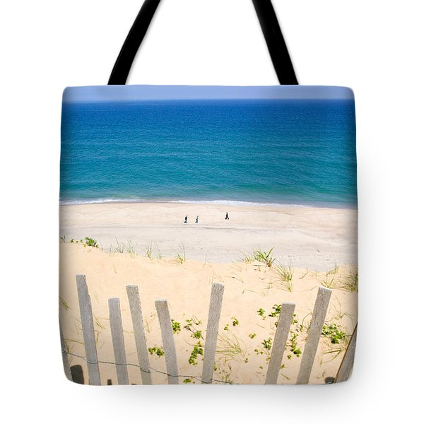 beach fence and ocean Cape Cod Tote Bag by Matt Suess