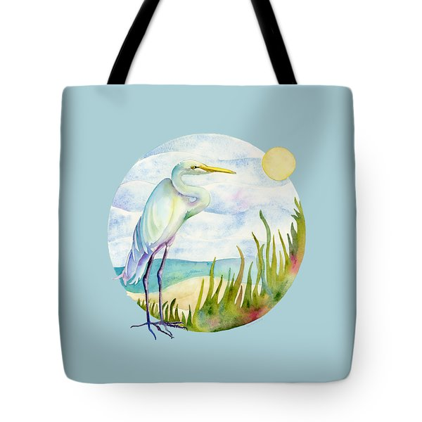 Beach Heron Tote Bag by Amy Kirkpatrick