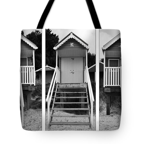 Beach hut triptych Tote Bag by John Edwards