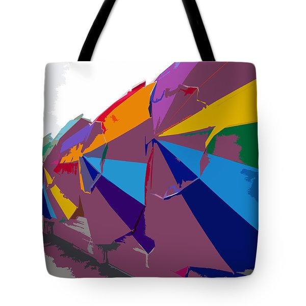 Beach Umbrella Row Tote Bag by David Lee Thompson