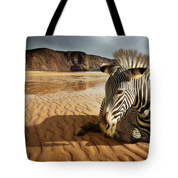 Beach Zebra Tote Bag by Carlos Caetano