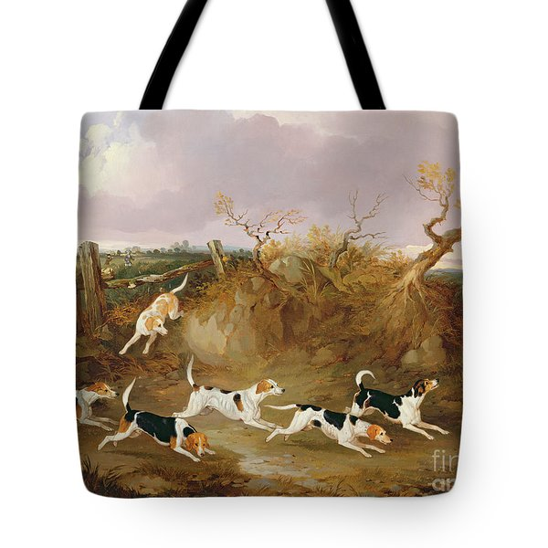Beagles In Full Cry Tote Bag by John Dalby