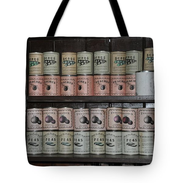 Beans Peaches Tomatoes And Peas Tote Bag by Bill Cannon