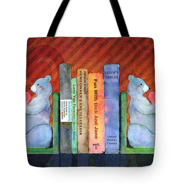 Bear Bookends Tote Bag by Arline Wagner