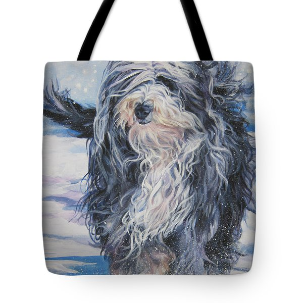 Bearded Collie in Snow Tote Bag by L A Shepard