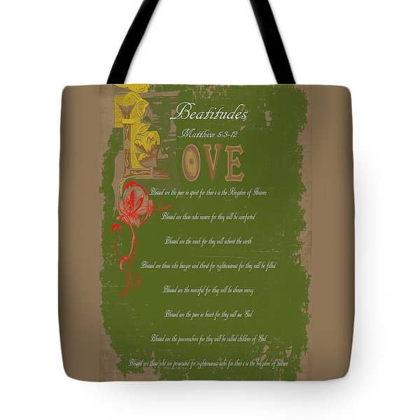 Beatitudes Tote Bag by Judy Hall-Folde