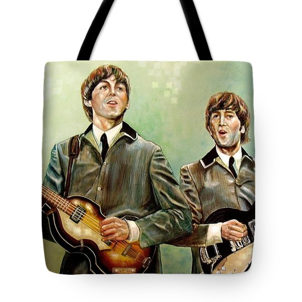 Beatles Paul And John Tote Bag by Leland Castro