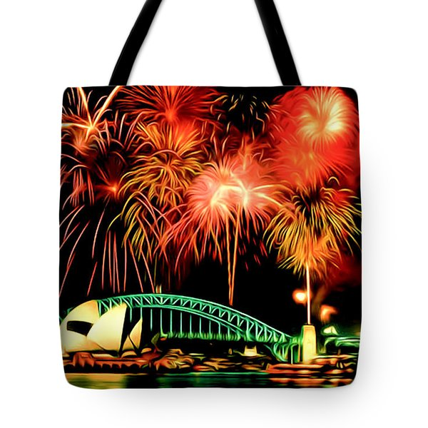 Beautiful Colorful Holiday Fireworks 2 Tote Bag by Lanjee Chee