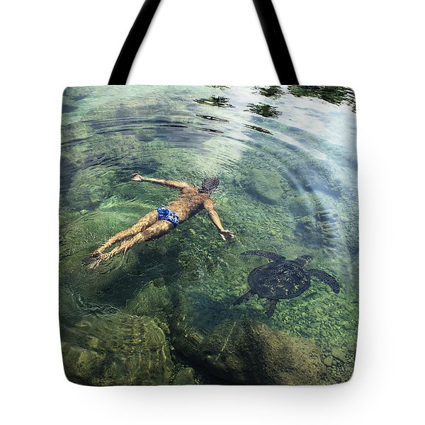 Beautiful Man And Turtle Tote Bag by Brandon Tabiolo - Printscapes