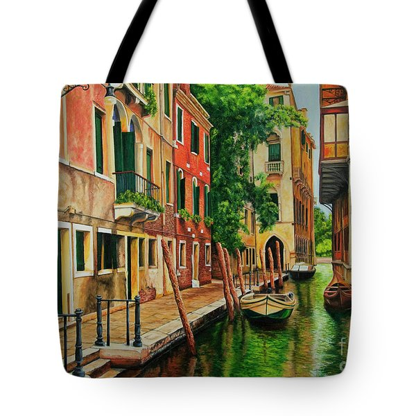 Beautiful Side Canal In Venice Tote Bag by Charlotte Blanchard
