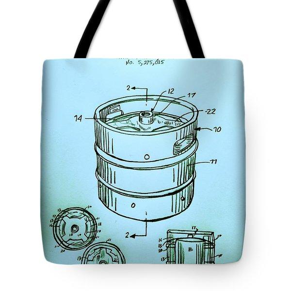 Beer Keg 1994 Patent - Blue Tote Bag by Scott D Van Osdol