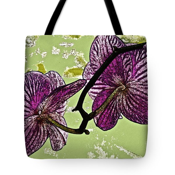 Behind the Orchids Tote Bag by Gwyn Newcombe
