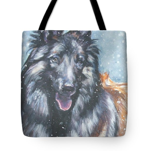 Belgian Tervuren in snow Tote Bag by Lee Ann Shepard