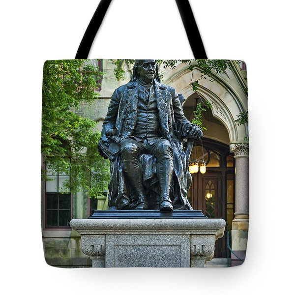Ben Franklin At The University Of Pennsylvania Tote Bag by John Greim