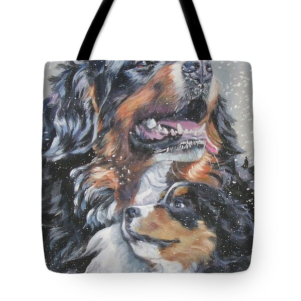 Bernese Mountain Dog With Pup Tote Bag by L A Shepard