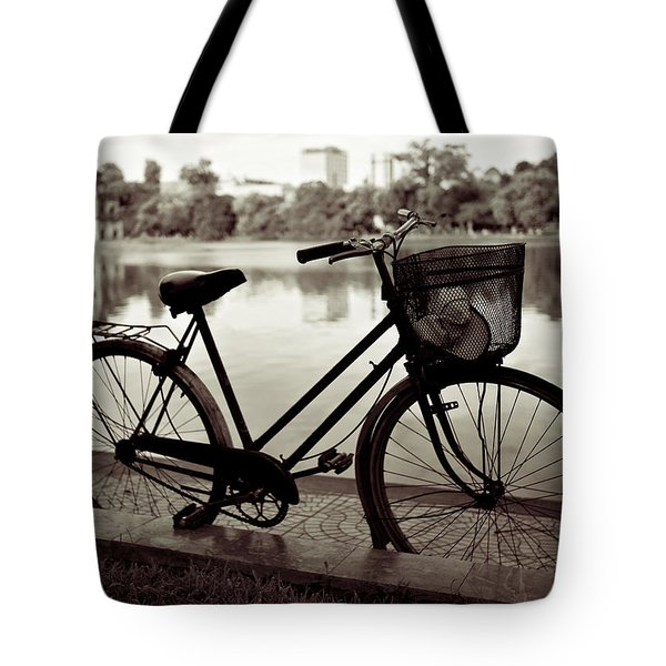 Bicycle by the Lake Tote Bag by Dave Bowman