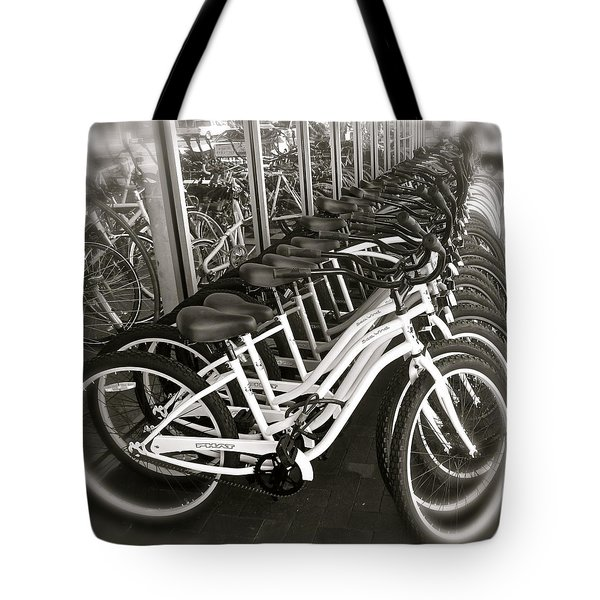 Bicycles In Belmont Shore Tote Bag by Gwyn Newcombe