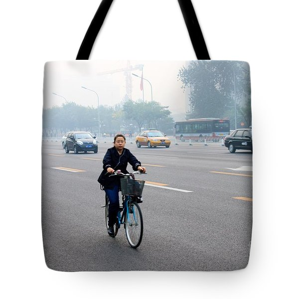 Bicyclist In Beijing Tote Bag by Thomas Marchessault