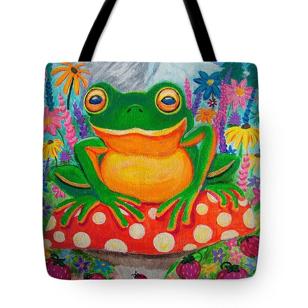 Big green frog on red mushroom Tote Bag by Nick Gustafson