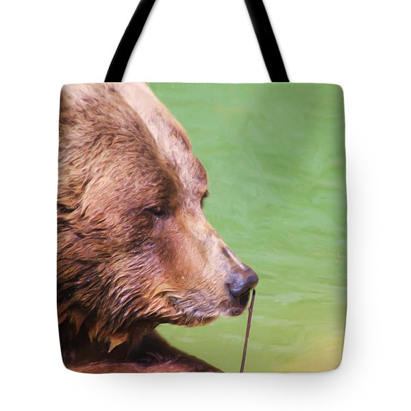 Big Old Bear With A Tiny Stick Tote Bag by Karol  Livote