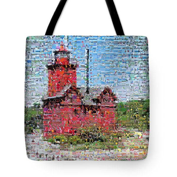 Big Red Photomosaic Tote Bag by Michelle Calkins