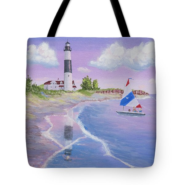 big sable point lighthouse painting by jerry mcelroy. Black Bedroom Furniture Sets. Home Design Ideas
