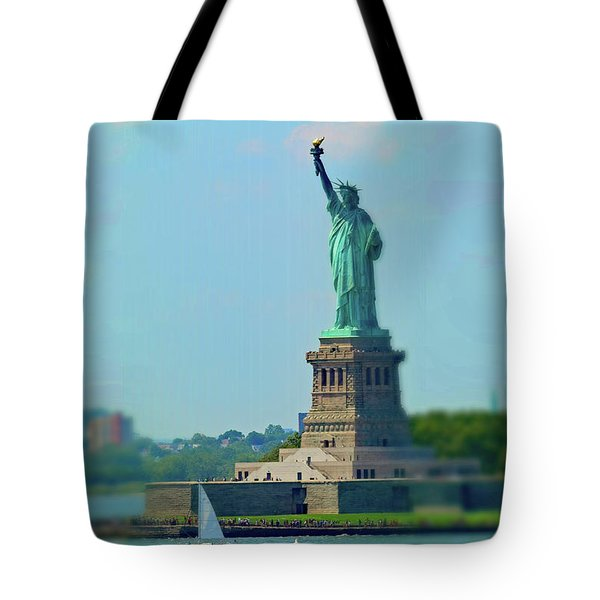 Big Statue, Little Boat Tote Bag by Sandy Taylor