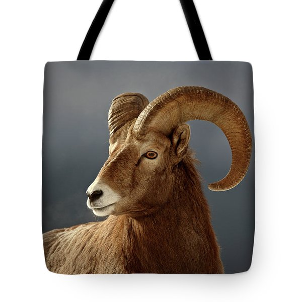 Bighorn Sheep In Winter Tote Bag by Mark Duffy