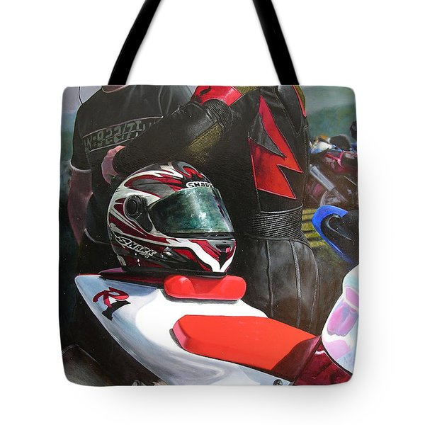 Bikers At The Horseshoe Pass Tote Bag by Harry Robertson