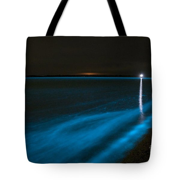 Bioluminescence In Waves Tote Bag by Philip Hart