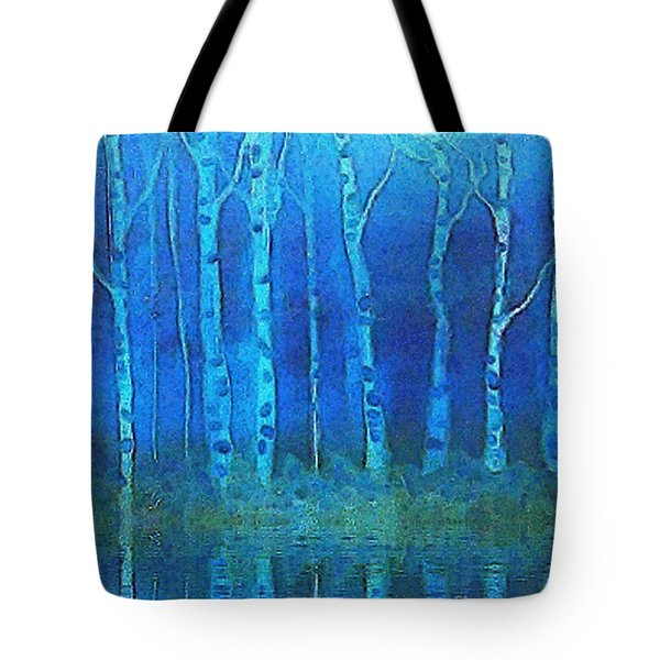 Birches In Moonlight Tote Bag by Holly Martinson