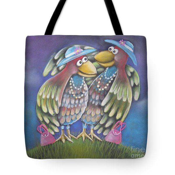Birds Of A Feather Stick Together Tote Bag by Caroline Peacock