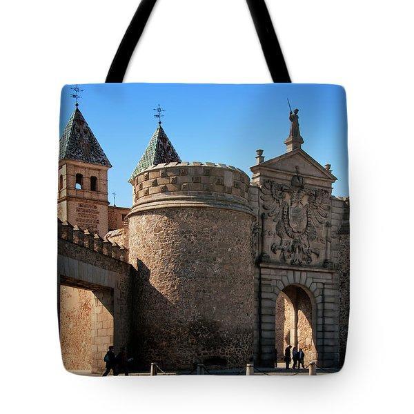Bisagra Gate Toledo Spain Tote Bag by Joan Carroll