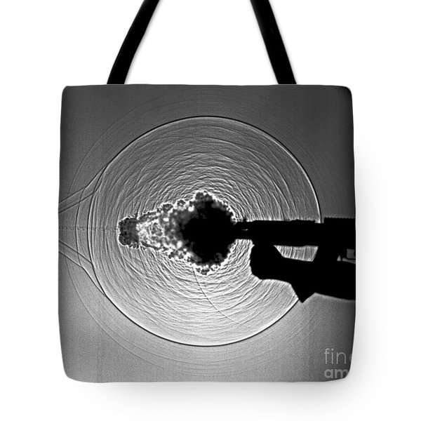 Black And White Gun Firing Shadowgram Tote Bag by Garry S Settles and Photo Researchers