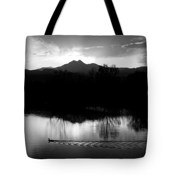 Black And White Lake Sunset Tote Bag by James BO  Insogna