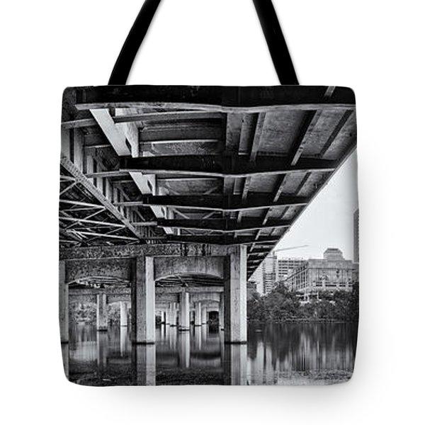 Black And White Panorama Of Downtown Austin Skyline Under The Bridge - Austin Texas  Tote Bag by Silvio Ligutti