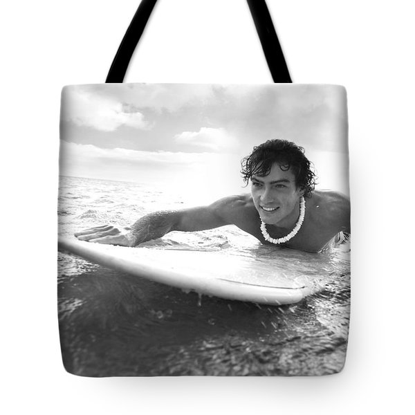 Black And White Sufer Tote Bag by Brandon Tabiolo - Printscapes