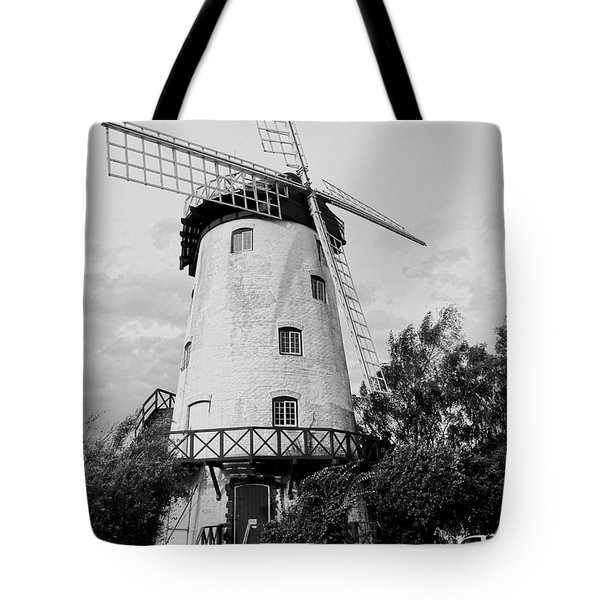 Black And White Windmill Tote Bag by Sandy Taylor