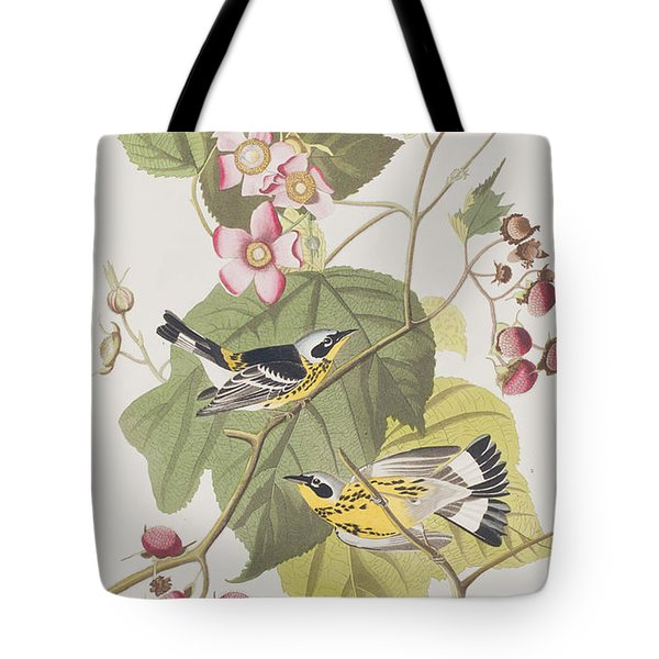 Black And Yellow Warblers Tote Bag by John James Audubon