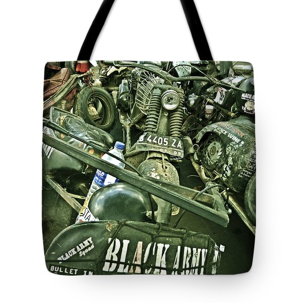 Black Army Tote Bag by Charuhas Images