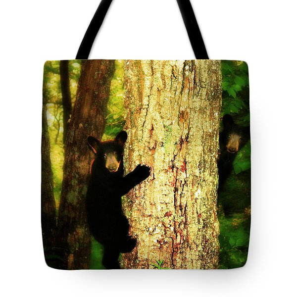 Black Bear Cubs Tote Bag by Gray  Artus