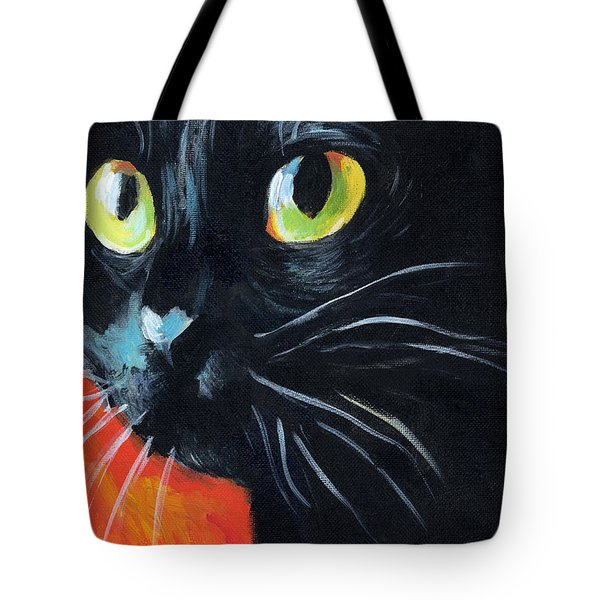 Black Cat Painting Portrait Tote Bag by Svetlana Novikova