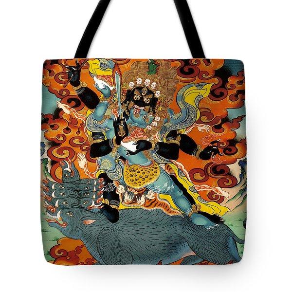 Black Hayagriva Tote Bag by Sergey Noskov