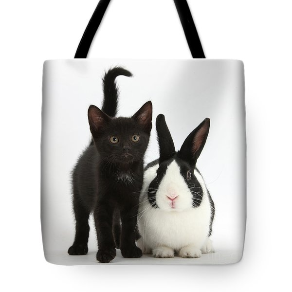 Black Kitten And Dutch Rabbit Tote Bag by Mark Taylor