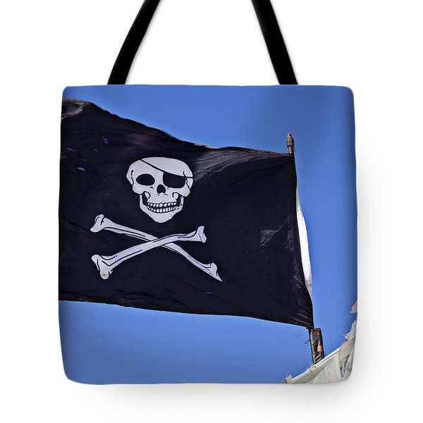 Black Pirate Flag  Tote Bag by Garry Gay
