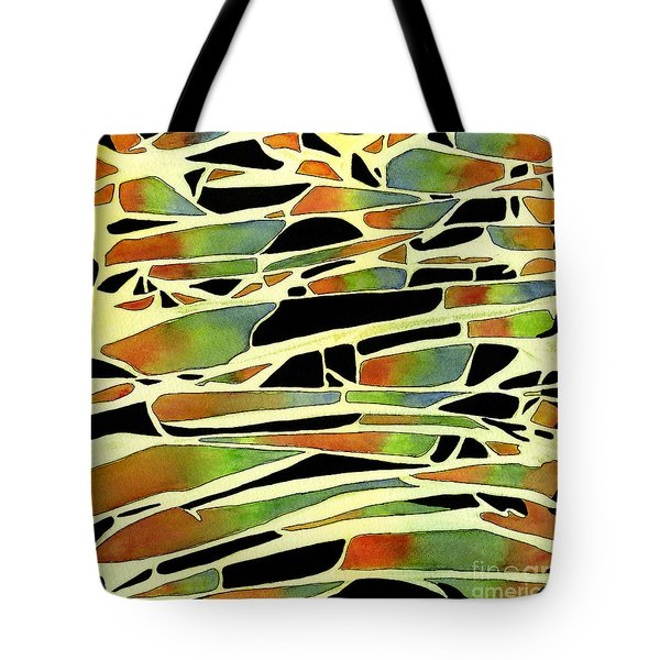 Black Sienna Green Blue Abstract Ink And Watercolor Design Tote Bag by Sharon Freeman